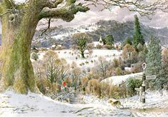 S R Badmin. 'Calling in the hounds at the Mile Oak', Bignor West Sussex. Winter Landscape, Landscape Art, Landscape Paintings, Hunters In The Snow, Uk Landscapes, Homemade Art, Comic Pictures, Tree Illustration, Snow Scenes