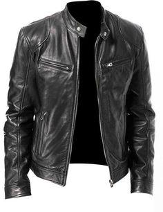 Details about  /New Winter Men Leather Jacket Slim Fit Warm Cotton Jacket Bomber Moto Jackets