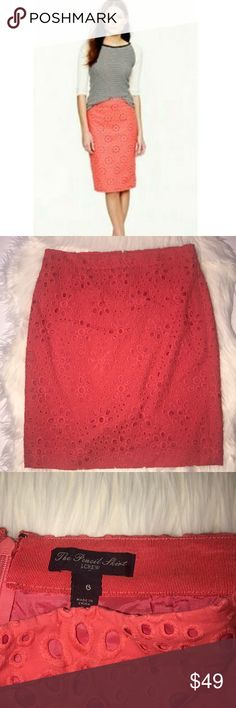 "J. Crew Factory Coral Eyelet ""The Pencil Skirt"" Beautiful pink Eyelet skirt. Zips in the back. Gently pre owned condition. Size 6 pencil skirt. No trades!! J.Crew Factory Skirts Pencil"