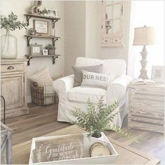 42 Cozy Shabby Chic Living Room Decorating Ideas , Shabby Chic is all of the rage. Shabby chic can readily be confused with the farmhouse style since it is normal to come across distressed, antique or . Modern Farmhouse Living Room Decor, Living Room Decor Country, French Country Living Room, Shabby Chic Living Room, Rooms Home Decor, Farmhouse Style, Rustic Farmhouse, Country Decor, French Farmhouse
