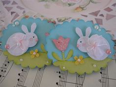 handmade Easter card decoration: Glitter Bunny Embellishments ...