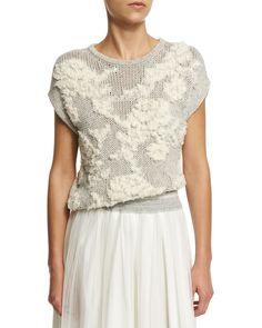 Floral-Knit Short-Sleeve Sweater, Haze, Women's, Size: MEDIUM - Brunello Cucinelli