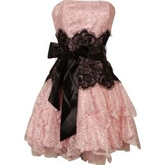 Strapless Bustier Contrast Lace and Crinoline Ruffle Prom Mini Dress Junior Plus Size found on Polyvore