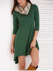 Casual Scoop Neck 3/4 Sleeve Asymmetrical Women's Dress