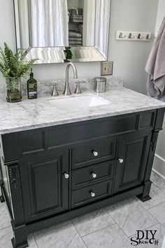 Huntshire bathroom vanity - DIY Showoff website. Impressive bathroom remodel. From ICK to Ahhh. Love this marble topped vanity!!