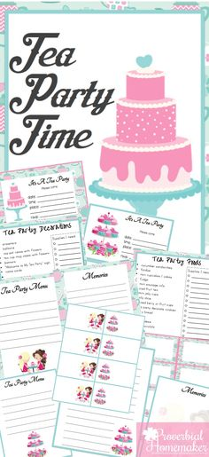 Adorable tea party printable pack! Have a fun tea party or let the kids host one with invitations, food labels, planner pages, and more!
