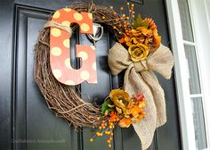 DIY Wednesday!  Make Your Own Monogram Fall Wreath for the Front Door!
