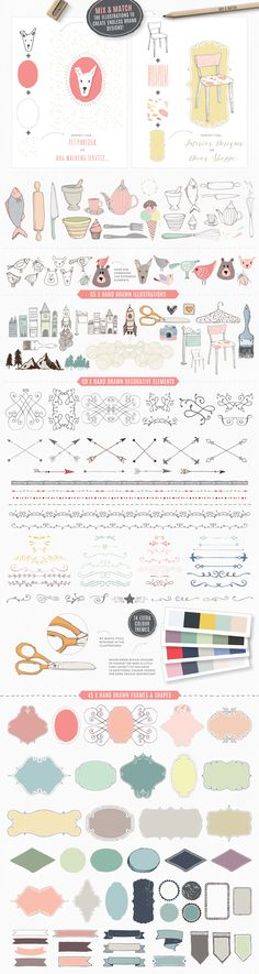Essential branding kit for Photoshop by Lisa Glanz on Creative Market Branding Kit, Brand Identity, Branding Design, Logo Design, Graphic Design, Restaurant Logo, Create A Company, Web Design, Doodles