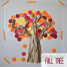 Contact Paper Sticky Wall Fall Tree Craft -- Fall Kids Crafts -- via www.iheartcraftythings.com