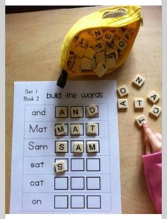 Build a word with Bananagrams, for home or classroom. I want to try this with my boys. Guess I'll make custom sheets for their own reading levels.