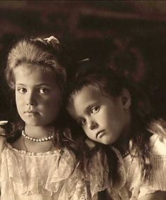 HQ photo of Grand Duchesses Maria and Anastasia of Russia taken in 1906 from…