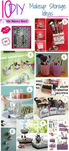~ 10 DIY Makeup Storage Ideas ~ 1) DIY Magnetic Makeup Board; 2) Washi Tape Makeup Brush Holder; 3) Adorable Makeup Bucket Storage; 4) DIY Glitter Makeup Brush Holders; 5) Eye Shadow Palette Storage; 6) Candlestick & Plate Bathroom Space Saver; 7) DIY Eye & Face Brush Holder; 8) DIY Makeup Box; 9) Fruit Holder Makeup Storage; 10) DIY Hanging Makeup Jars