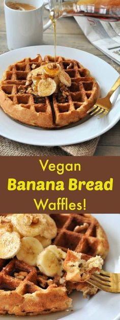 Banana Bread Waffles & A Big Announcement Dairy-free, egg-free, vegan walnut banana bread waffles! The perfect weekend breakfast! The perfect weekend breakfast! Vegan Treats, Vegan Foods, Vegan Dishes, Vegan Lunches, Vegan Snacks, Banana Recipes, Waffle Recipes, Cookie Recipes, Bread Recipes