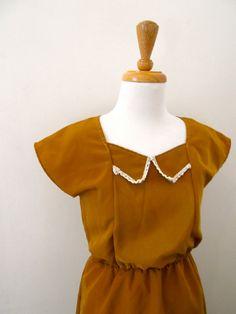 Vintage 1970s Gold Satin Mini Dress by missmittensvintage on Etsy, $35.00