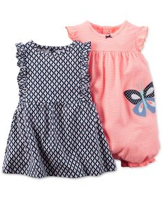 Carter's Baby Girls' 2-Pack Geo-Print Dress & Coral Romper - Kids & Baby - Macy's