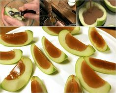 Start by cutting a green apple in half. Scoop out the core and fill with caramel. Then stick it in the fridge so the caramel solidifies, cut and serve. There you have it, nice and easy.