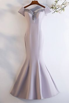 Elegant Off The Shoulder Corset Lavender Mermaid Beaded Prom Evening Dress Winter Prom Dresses, Lavender Prom Dresses, Evening Dresses, Orange Blush, Purple Grey, Blush Pink, Platinum Grey, Prom Dresses Online, Buy Dress