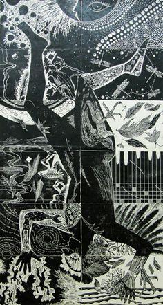 Fantastic collaborative lino cut = Angelikno, René Donais, Talleen Hacikyan,  Michel Lancelot, Rolande Pelletier, Deborah Wood  La chute d'Icare, linocut print, 213 x 107 cm, 2011