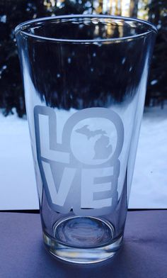 Michigan Love Pint Glass by LIVNFRESH on Etsy
