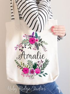 Personalised Name Pink Floral Wreath Tote Bag  IMPORTANT NOTE: My supplier is currently out of stock of the American Apparel tote bags (first