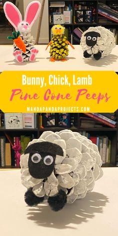 Easter bunny, chick and lamb painted pine cone Peeps. Nature Easter craft for kids that's both fast and easy! wirus Pine Cone Peeps: Bunny, Chick, and Lamb Easter Craft - Manda Panda Projects Spring Crafts For Kids, Fall Crafts, Diy For Kids, Crafts To Make, Christmas Crafts, Diy Crafts, Prim Christmas, Simple Christmas, Paper Crafts