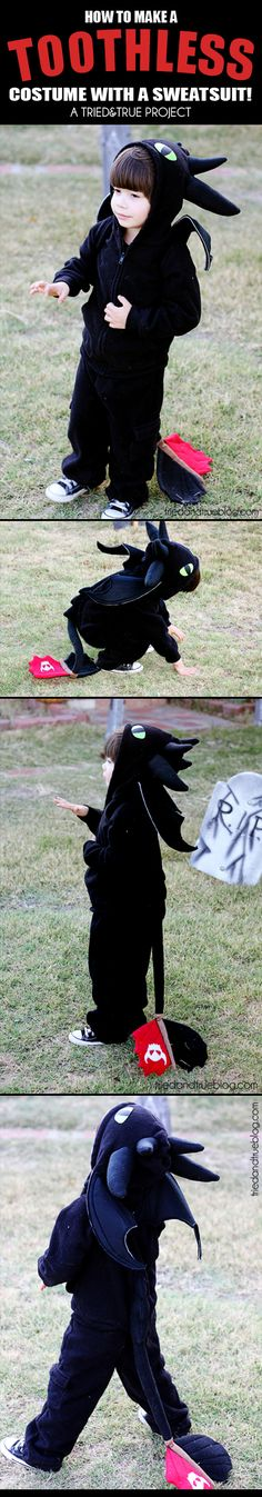 To Make a Dragon Costume From a Sweatsuit! How To Make a Toothless Dragon Costume from a sweatsuit! - A Tried & True Project for HalloweenHow To Make a Toothless Dragon Costume from a sweatsuit! - A Tried & True Project for Halloween Holidays Halloween, Fall Halloween, Halloween Crafts, Halloween Party, Dragon Halloween, Halloween Sewing, Group Halloween, Homemade Halloween, Toddler Halloween