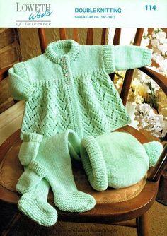 """Lilly Of The Valley Baby matiné abrigo y sombrero de 12 Pulgadas 18 /""""Tejer patrón 4 Capas"""