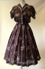 1950s Brown Calico Day Dress