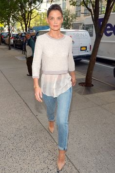 Spring / Summer - street chic style - casual style - metallic pearl round neck crop sweater + pear translucent blouse + light denim cuffed skinnies + nude stilettos
