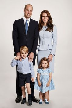 The Duke and Duchess of Cambridge in Catherine Walker, Prince George and Princess Charlotte.