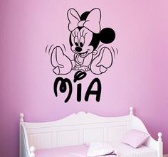 Girl Name Wall Decals Personalized Mickey Mouse Decal Cartoon Sticker Nursery Kids Room Bedroom Home Decor DS407