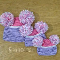 Handmade crochet over sized bobbles hats