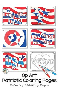 Coloring pages that are perfect for any patriotic holiday such as The of July or Independence Day Memorial Day Veterans Day President's Day or even Election Day. Each design is created using some op art for a fun way to include a few art concepts. Projects For Kids, Art Projects, Veterans Day Poppy, Veterans Day Coloring Page, Veterans Day Activities, Art Therapy Directives, Poppy Craft, Monkey Art, Art Therapy Activities