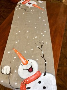 me ~ Snowman Hand-painted Table Runner Snowball Christmas Silver Christmas Decorations, Christmas Mantels, Rustic Christmas, Christmas Wreaths, Christmas Ornaments, Christmas Truck, Christmas Crafts, Etsy Christmas, Deco Table Noel