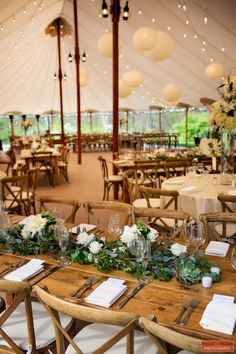 Rustic tent reception - farm table, tuscan chairs, hanging paper lanterns, bistro lights, and garland table runners. Tent Reception, Outdoor Wedding Reception, Wedding Backyard, Wedding Tent Lighting, Marquee Wedding Receptions, Outdoor Tent Wedding, Wedding Reception Layout, Rustic Backyard, Modern Backyard