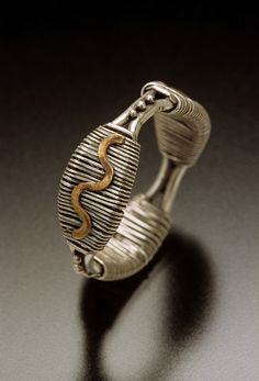 Ring | Chuck Domitrovich. 'Wrapped Wave'.  Sterling silver, fine silver, and 14k gold.