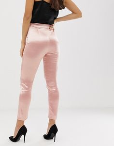 The Girlcode satin fitted trousers in pink at ASOS. Satin Trousers, Fitted Jumpsuit, Trousers Women, Silk Pajamas, Workout Pants, Fashion Online, Fitness Models, Asos, Clothes For Women
