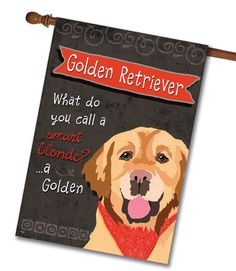 """Golden Retriever House Flag: Flag Size: 28"""" x 40"""" Flag stand sold separately Proudly Printed in the USA Vibrant colors printed on a poly/cotton outdoor quality fabric. Digitally printed"""