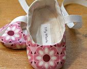 Lime and Taupe Floral Ballet Slipper Baby Shoes by TillyWhistle