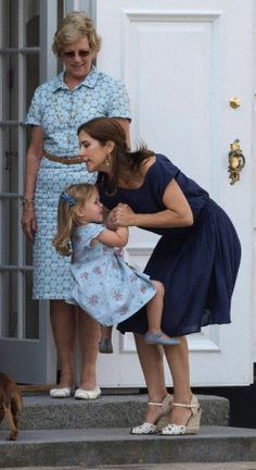 (L-R) Queen Anne-Marie, Crown Princess Mary and Princess Josephine during the annual gathering event at Graasten Palace in Jutland on 26 July 2013.