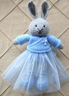 Knit Easter Bunny Ballerina Tutu Knitted Easter Bunny Doll