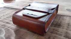 leather tabacco case, vintage leather tabacco, handmade cigarette box, leather vintage tabacco