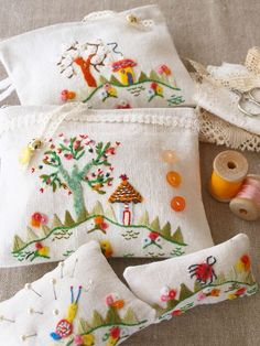 beautiful embroidered pincushions