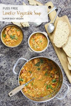 Fuss free vegan soup - easy, quick with lentils, vegetables, ginger and coriander - all in one pot. Quick Soup Recipes, Chowder Recipes, Salad Recipes, Dairy Free Soup, Dairy Free Recipes, Vegan Recipes, Ginger Black, Fresh Ginger, Creamy Potato Leek Soup