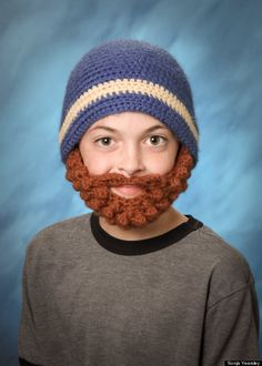 beard#crochet hat with attached beard worn in child's yearbook photo