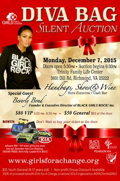 Black Girls Rock Founder and Executive Director Beverly Bond Comes to RVA for the Return of the Diva Bag Auction December 7, 2015, hosted by Girls For A Change $50