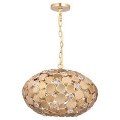 Pairing cut crystal and gold medallions for a pop of shimmer, this lovely pendant adds Old Hollywood glamour to your foyer or dining room.  ...