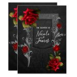 Red Roses Black Ornate Gothic Wedding Card #halloween #happyhalloween #halloweenparty #halloweenmakeup #halloweencostume