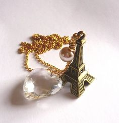 """'Paris In Love' Necklace - Antique Bronze Eiffel Tower, Pearl & Heart Charm - Gold Plated 30"""" Chain £13.99"""
