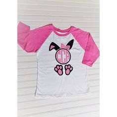 Girls Easter Bunny Raglan with Glitter Monogram is absolutely adorable and perfect for Easter weather